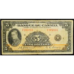 1935 $5 Dollar BC-6, Bank of Canada Banknote 'French' series