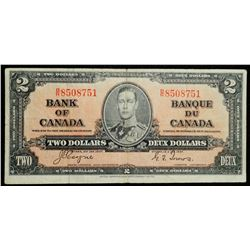 1937 $2 Dollar BC-22c, Bank of Canada Banknote