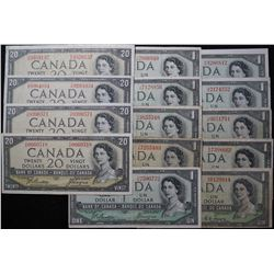 1954 - Devils Face issue - 1 & 20 Dollar Banknotes