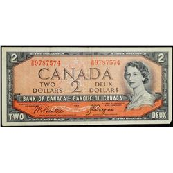 1954 $2 Dollar BC-30b - Bank of Canada 'DB' prefix 'Devils Face'