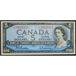 1954 $5 Replacement Dollar BC-39bA - Bank of Canada '*RC' prefix