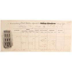 Kellog & Humberts Assay Receipt to Darius Ogden Mills & Company