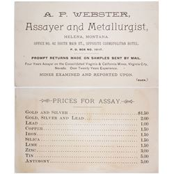 A.P. Webster, Assayer, Business Card