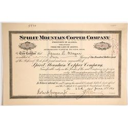 Spirit Mountain Copper Company Stock Certificate