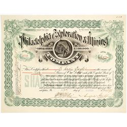 Philadelphia Exploration & Mining Co. Stock Certificate