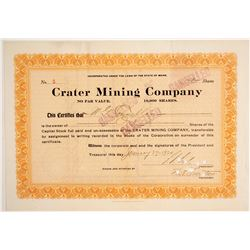 Crater Mining Company Stock Certificate