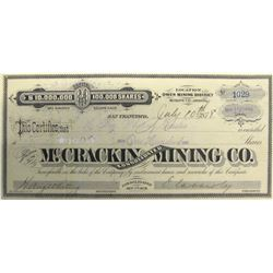 McCrackin Consolidated Mining Co. Stock Certificate, Owen Mining District