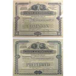 United Mining Co. Stock Certificate Pair, Brownell