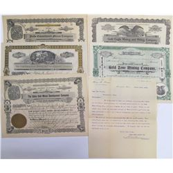 Five Different Oro Blanco District Mining Stock Certificates