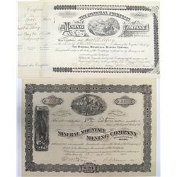 Two Different Mineral Mountain Mining Co. Stock Certificates