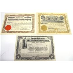 Three Different Humboldt District Mining Stock Certificates