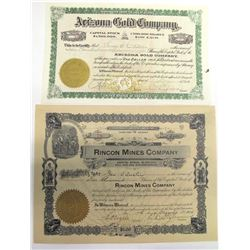 Two Martinez District Mining Stock Certificates