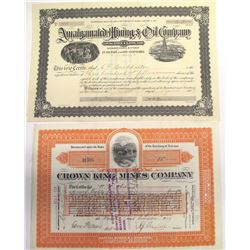 Two Pine Grove Mining District Stock Certificates
