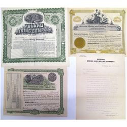 Three Different Poland, Arizona Mining Stock Certificates