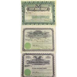 Three Different Weaver District, Yavapai Co., Arizona Mining Stock Certificates