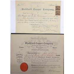 Two Different Stoddard Copper Co. Stock Certificates
