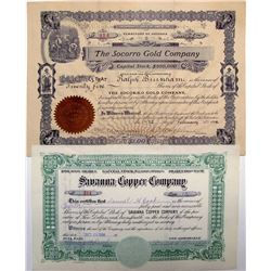 The Socorro Gold Company Stock Certificate, Yuma Co. AZ Plus One New Mexico Stock