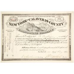 New York & Calaveras County Gold Mining Company Stock Certificate