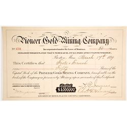 Pioneer Gold Mining Co. Stock Certificate, Placer County