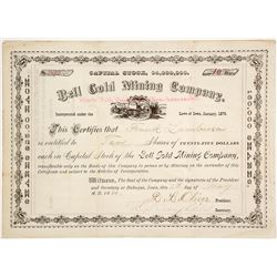 Bell Gold Mining Co. Stock Certificate, Plumas County