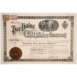 Par Value Gold Mining Company Stock Certificate