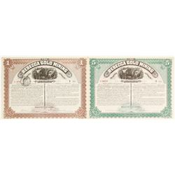 Two Rebecca Gold Mining Company Stock Certificates