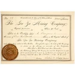 Gee Zee Mining Company Stock Certificate, Tin Cup, Colorado