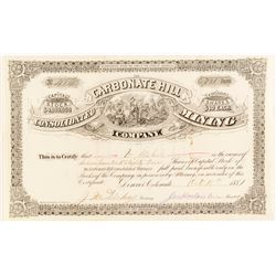 Carbonate Hill Consolidated Mining Co. Stock Certificate