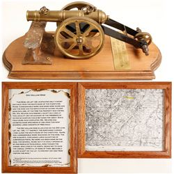 Rail Track from Dry Hollow Mine; Replica of Cannon; 2 framed info's of Dry Hollow Mine