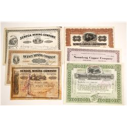 Six Different Michigan Mining Stock Certificates