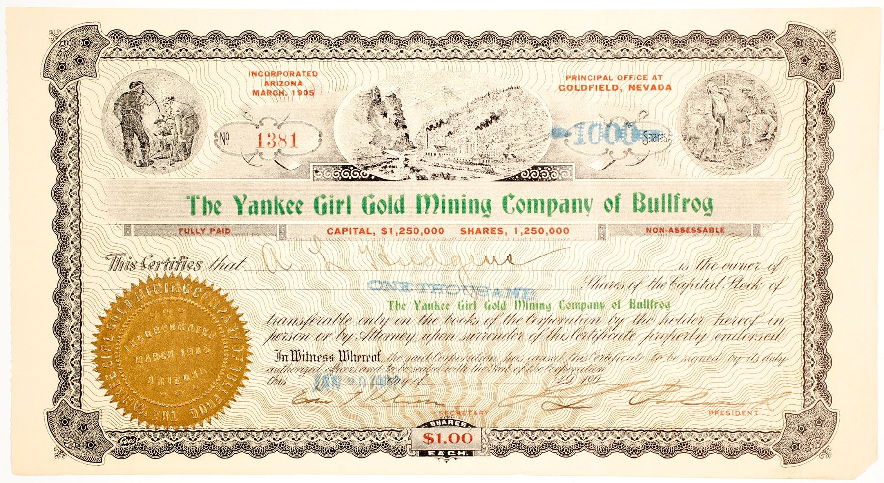 Yankee Girl Gold Mining Co Of Bullfrog Stock Certificate