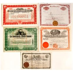 Five Ely, NV Mining Stock Certificates