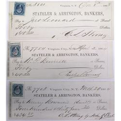Three Territorial Virginia City Checks signed by Different Superintendents