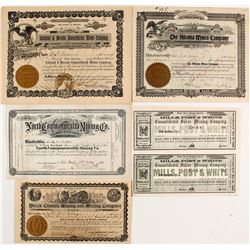 Five Different Nevada Mining Stock Certificates
