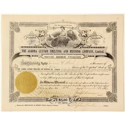 Algoma Custom Smelting & Refining Co., Ltd. Stock Certificate, Thessalon, Ontario