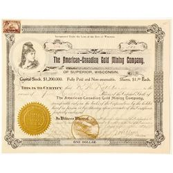American-Canadian Gold Mining Co. Stock Certificate, Ontario