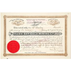 Hawk Bay Gold Mining Co. Stock Certificate, 1897