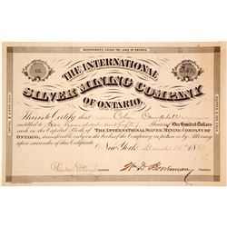 International Silver Mining Co. of Ontario Stock Certificate, 1883