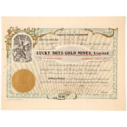 Lucky Boys Gold Mines, Ltd. Stock Certificate, 1907