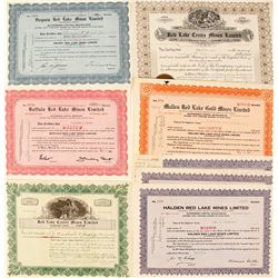 Red Lake Mining Company Stock Certificates, Ontario