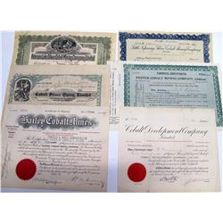 Six Different Ontario Cobalt Mining Stock Certificates