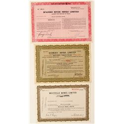 Three Sudbury Mining Stock Certificates