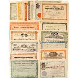 Twenty-One Different Canadian Cobalt Mining Stock Certificates (Ontario)