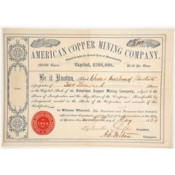 American Copper Mining Co. Stock Certificate, 1864, Quebec