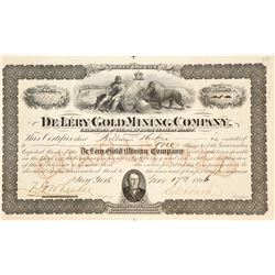 De Lery Gold Mining Company Stock Certificate, Quebec, 1866