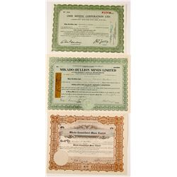 Three Different Saskatchewan Mining Stock Certificates
