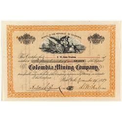 Columbia Mining Company Stock Certificate (Mines in Columbia) 1887