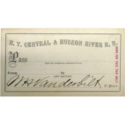 N.Y. Central & Hudson River Railroad Trip Pass signed by William Vanderbilt