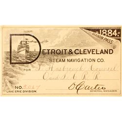 Detroit & Cleveland Steam Navigation Co. Annual Pass, 1884