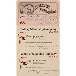 Three Mallory Steamship Co. Annual Passes